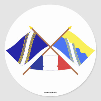 Crossed flags of Champagne-Ardenne and Aube Classic Round Sticker