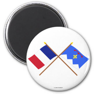 Crossed flags of France & Alpes-de-Haute-Provence 2 Inch Round Magnet