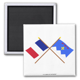 Crossed flags of France & Alpes-de-Haute-Provence 2 Inch Square Magnet
