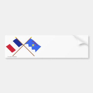 Crossed flags of France & Alpes-de-Haute-Provence Car Bumper Sticker