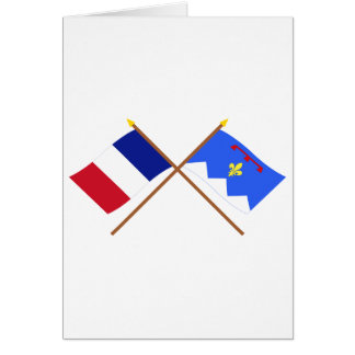 Crossed flags of France & Alpes-de-Haute-Provence Card