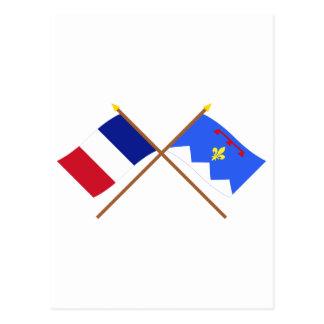 Crossed flags of France & Alpes-de-Haute-Provence Postcard