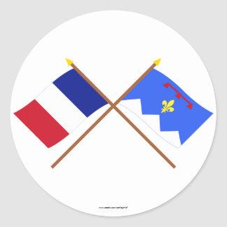 Crossed flags of France & Alpes-de-Haute-Provence Sticker