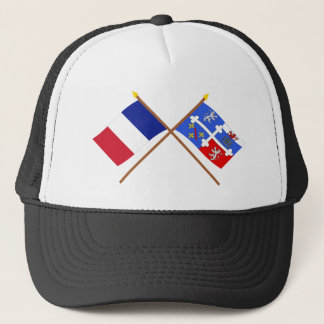 Crossed flags of France and Ain Trucker Hat