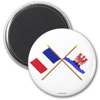 Crossed flags of France and Alpes-Maritimes 2 Inch Round Magnet