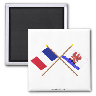 Crossed flags of France and Alpes-Maritimes 2 Inch Square Magnet