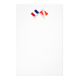 Crossed flags of France and Alsace Stationery