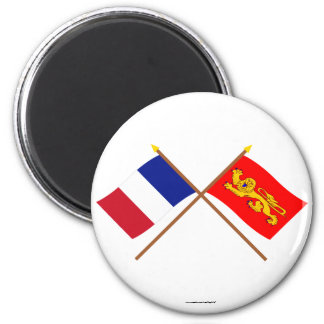Crossed flags of France and Aquitaine Refrigerator Magnet