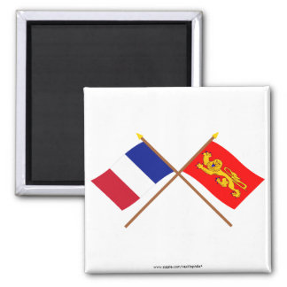 Crossed flags of France and Aquitaine Fridge Magnets