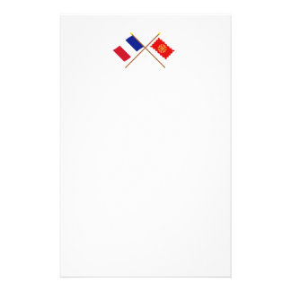 Crossed flags of France and Aude Stationery