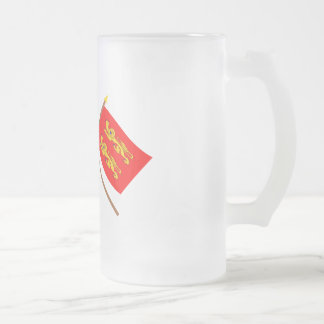 Crossed flags of France and Basse-Normandie Frosted Glass Beer Mug