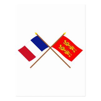 Crossed flags of France and Basse-Normandie Postcard