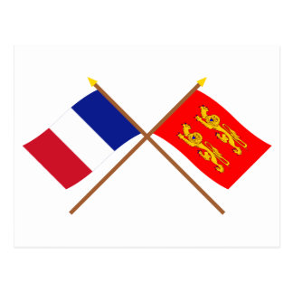Crossed flags of France and Basse-Normandie Postcard