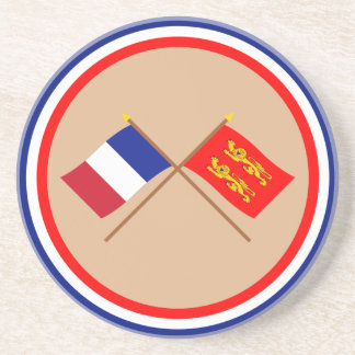 Crossed flags of France and Basse-Normandie Sandstone Coaster