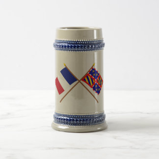 Crossed flags of France and Bourgogne 18 Oz Beer Stein