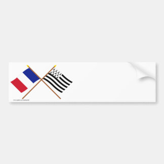 Crossed flags of France and Bretagne Bumper Sticker