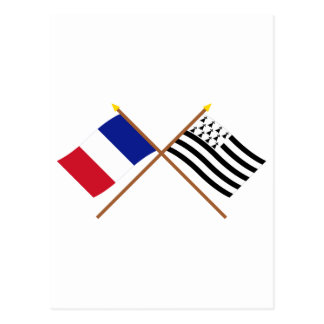 Crossed flags of France and Bretagne Postcard