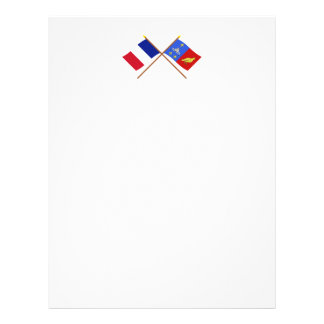 Crossed flags of France and Charente-Maritime Letterhead