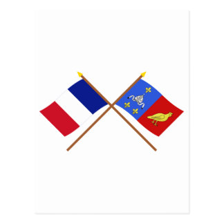 Crossed flags of France and Charente-Maritime Postcard