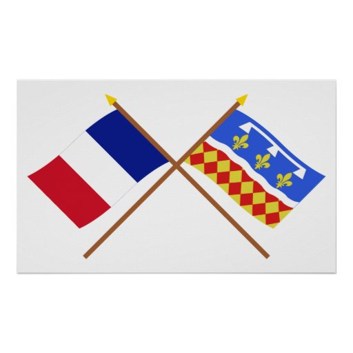 Crossed flags of France and Charente Poster