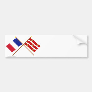 Crossed flags of France and Deux-Sèvres Bumper Stickers
