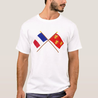 Crossed flags of France and Dordogne T-Shirt