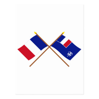 Crossed flags of France and French Southern and An Postcard