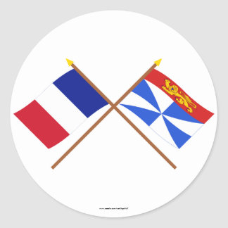 Crossed flags of France and Gironde Classic Round Sticker