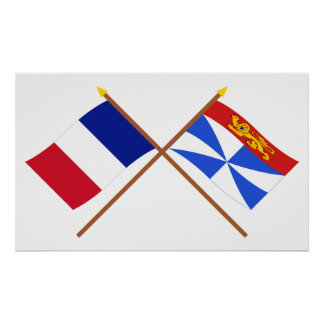 Crossed flags of France and Gironde Poster