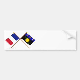 Crossed flags of France and Guadeloupe Bumper Sticker