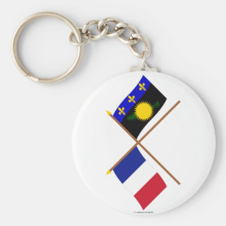 Crossed flags of France and Guadeloupe Keychains