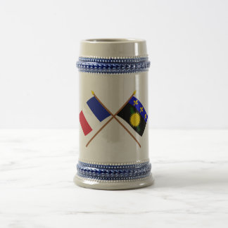 Crossed flags of France and Guadeloupe Coffee Mugs