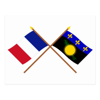 Crossed flags of France and Guadeloupe Postcard