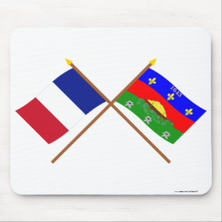 Crossed flags of France and Guyane Mouse Pad