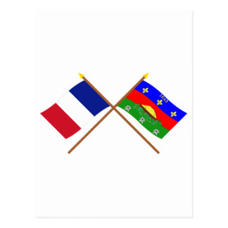 Crossed flags of France and Guyane Postcard