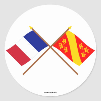 Crossed flags of France and Haut-Rhin Round Stickers