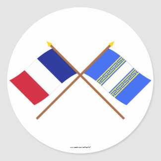 Crossed flags of France and Haute-Marne Round Stickers