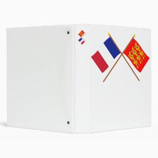 Crossed flags of France and Haute-Normandie Binder