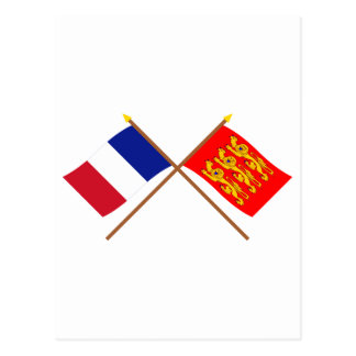 Crossed flags of France and Haute-Normandie Postcard