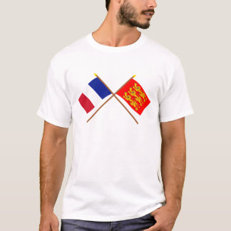 Crossed flags of France and Haute-Normandie T-Shirt