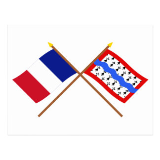 Crossed flags of France and Haute-Vienne Postcard