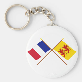 Crossed flags of France and Hautes-Pyrénées Keychain