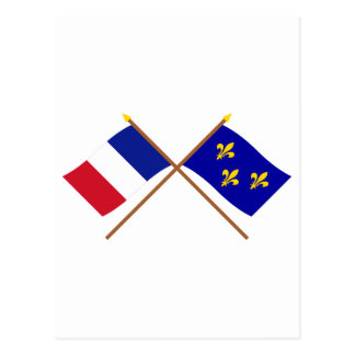 Crossed flags of France and Île-de-France Postcard