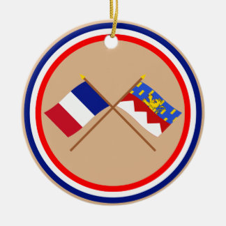 Crossed flags of France and Jura Ornaments