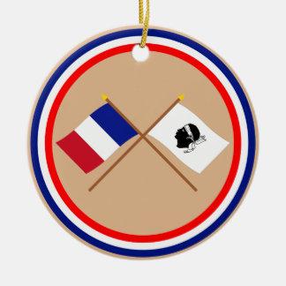 Crossed flags of France and La Corse Ceramic Ornament