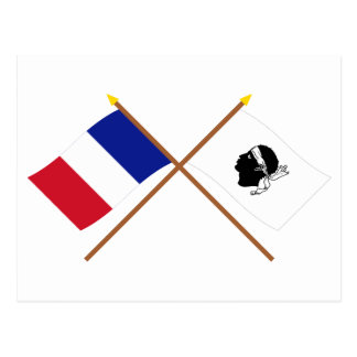 Crossed flags of France and La Corse Postcard