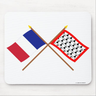 Crossed flags of France and Limousin Mouse Pad
