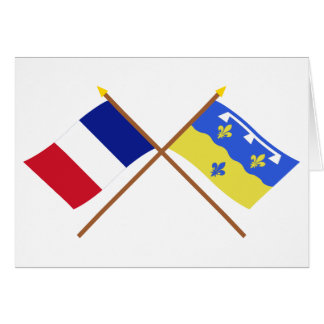 Crossed flags of France and Loir-et-Cher Greeting Cards
