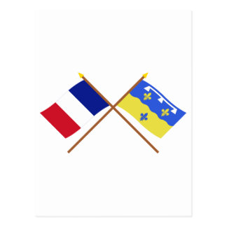 Crossed flags of France and Loir-et-Cher Postcard