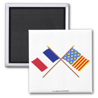 Crossed flags of France and Lozère 2 Inch Square Magnet